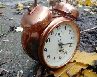 Copper Yugoslavia INSA Alarm Clock 1960's, Old rustic Clock, Alarm Clock, Vintage Clock, Home Office Decor
