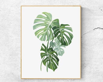 Monstera Leaf Watercolor Art, Botanical Art Print, Minimal Wall Art, Watercolour Plant, Tropical Leaf Art, Modern Art Print