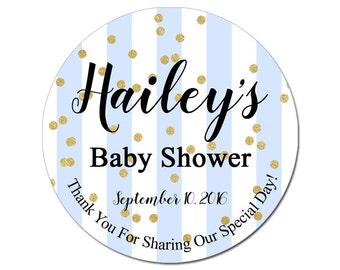 Custom Baby Shower Labels Personalized Blue Stripes and Gold Confetti Baby Boy Round Glossy Designer Stickers - Quantity 100