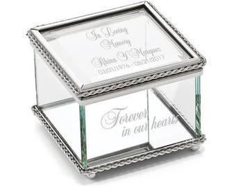 Engravable Glass Jewelry Box, Beaded Trinket Box, Personalized Jewelry Box, Personalized Glass, Glass Box, In Loving Memory, Memorial Box