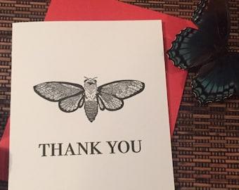 Cicada thank you - letterpress card