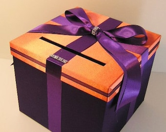 Wedding  Money Box Card Box Orange and Purple Gift Card Box Holder-Customize in your color