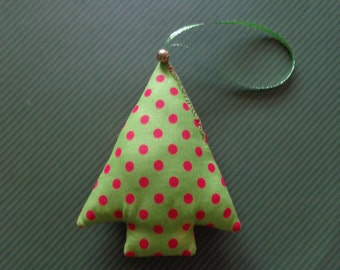 Polka Dot Print Fabric Christmas Tree Ornament by Pepperland