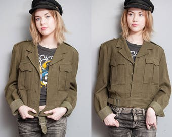 Vintage Military Issue | Army Green | Wool | Cropped | Jacket | Appellates | M