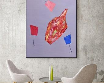 Original Modern Art Dining Room Art Large Minimalist Art Abstract Modern Art Original Contemporary Art Pop Art Champagne Painting Wine Art