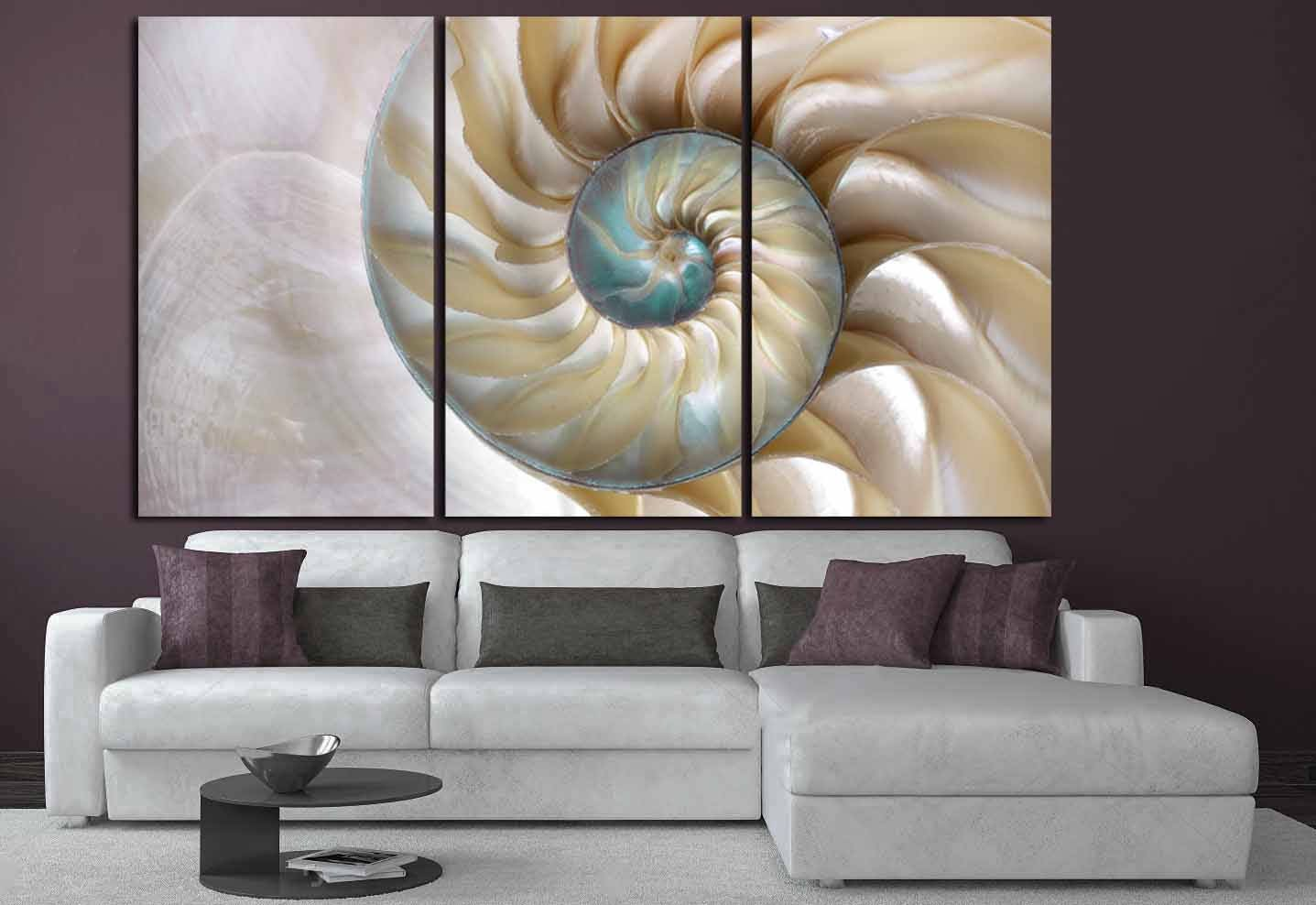 Seashell Wall Art,Seashell Canvas Print,Large Decorative Art, Nautilus  Shell Wall Art,Fibonacci Pattern Nautilus Shell, Large Office Art,