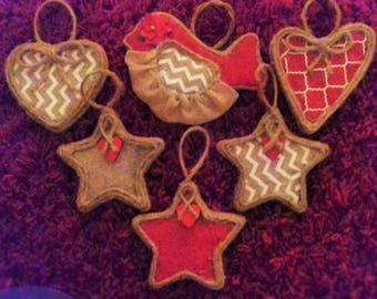 6 piece handmade Christmas ornament set!!