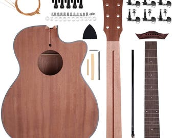 Guitar kit etsy zimo acoustic steel strings guitar make your own sapele guitar diy guitar kits 40 inch perfect gift for music lover solutioingenieria Image collections