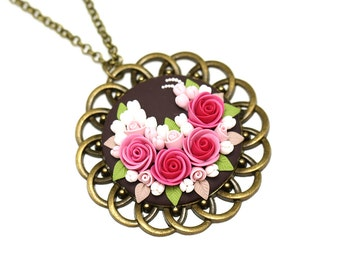 Polymer Clay Jewelry Polymer Clay Pendant Necklace Gift for her Floral Jewelry Clay Flowers Fashion Jewelry Pink Pendant Clay Jewelry