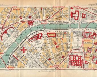 1927 paris france antique street map