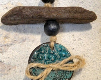 """Suspension """"turquoise button"""" out of ceramics, raku, hand-made"""