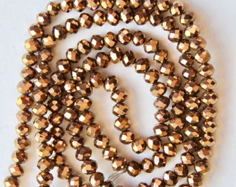 Metallic Bronze rondelles, 3 x 4mm, (145-150)/glass rondelles/faceted beads  Craft supplies