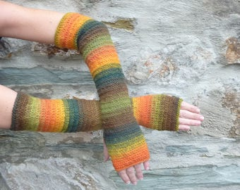 "Long fingerless gloves crochet ""Autumn day"" - one size"