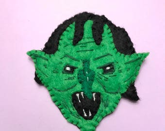 Goblin monster hand sewn felt patch