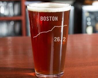 Marathon Beer Glass, Boston Marathon, 26.2 Beer Glass, Marathon Gift, Runner Beer Glass, Boston, Marathon Glass, Marathon Finisher