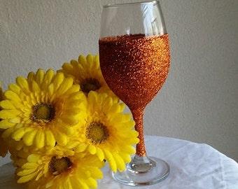 Burnt Orange Glitter Wine Glass