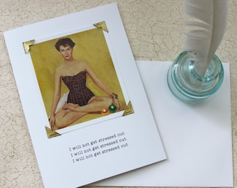 Christmas Card Funny Yoga Mantra I Will Not Get Stressed Out a Sassy Saying