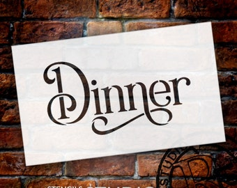 Wedding Sign Stencil - Dinner - Elegant Traditional - Select Size- STCL1747 - by StudioR12