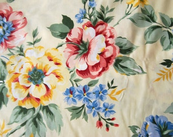 CouponTissu upholstery by the yard printed ecru cotonade dahlia flowers