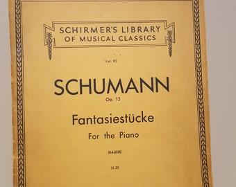 ON SALE, Vintage Sheet Music, Schumann Music, Music for piano, Schumann Music, Fantasiestucke, Classical Music, Note music, Piano Music,