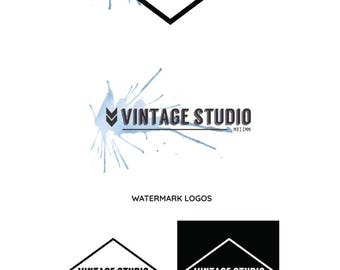 Premade Vintage Watercolor Blue Logo Design, Branding Kit, Business Logo, Custom Logo Design