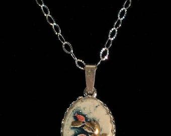 Pomegranate silver and ceramic pendant