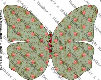 Butterfly Junk Journal 4 Journaling pages Aqua border, aqua, chocolate, honey Digital Printable Vintage Shabby Chic Rosesr Download
