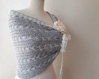 Grey cashmere Mohair  wedding Shawl, bridal shawl, bredismaid shawl - For her mom gift, Wedding Accessories