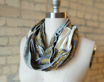 Organic Gray & White Infinity Scarf - Handmade Patterned Patchwork Scarf - Ethically Made from Sustainable Fabric in the USA