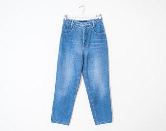on sale - high waist light wash mom jeans / loose tapered leg soft denim / size 26