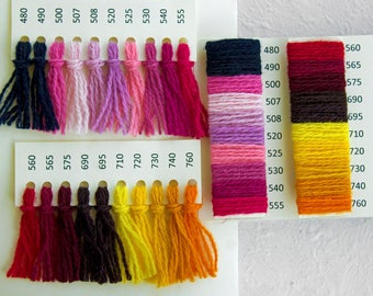 Wool Sample card - 80 colors, 100% wool Wool yarn for Creative Spirit