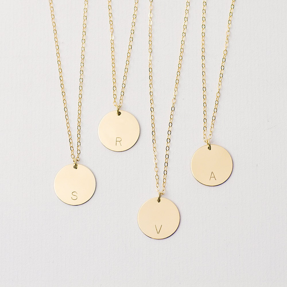 Personalised and custom jewellery etsy large personalised disc necklace gold circle necklace customised initial necklace large disc necklace aloadofball Gallery