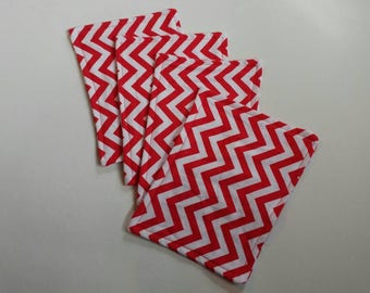 4pk cloth wipes, flannel wipes, 9x6 inch wipes, red, white, chevron, ready to ship, baby wipes, reusable wipes, family cloth, starter set