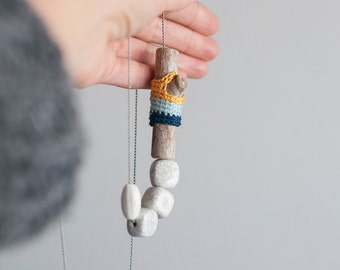 Whimsical Statement Necklace, Boho Chic, Eco Chic Jewelry, Unique Jewelry Trends, Long Necklace with Ceramic Beads and wood wrap croccheted