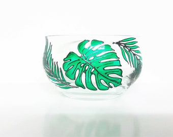 Tropical Leaves Bowl //  Candle Holder // Tropical Leaf Bowl // Housewarming Gift for Her // Succulent Flower Pot // Mothers Day Gift