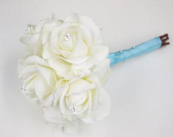 "Silk Wedding Bouquet - Natural Touch Off White Ivory Roses Silk Flower Bride Bouquet - 6"" Almost Fresh"