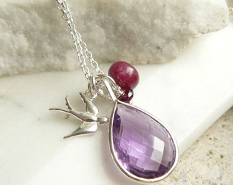Gemstone and Silver Swallow Necklace