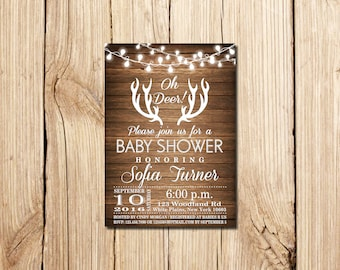 Camo Baby Shower Invitation Oh Deer Baby Buck On The Way