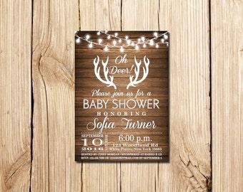 Oh Deer Baby Shower Invitation, Oh Deer, Rustic Baby Shower Invitation, Rustic Antlers Baby Shower Invitation, Deer, Baby Shower