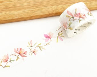 Floral Story Wide Washi Tape - Camellia (1 pc) Japanese Stationery Masking Tape Deco Tape Flower