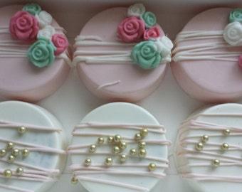 Garden themed oreos, pink oreos, pink and white chocolate covered oreos, flower oreos