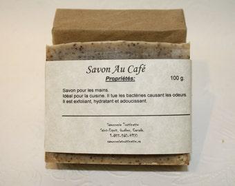 Savon au Café, savon pour les mains, savon de cuisine, exfoliant, savon, Savonnerie Trottinette, handmade soap, savon artisanal, fait main.
