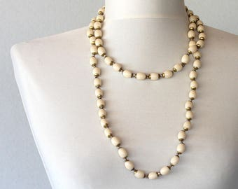 White long necklace  vintage cream bead necklace with brass bead caps vintage jewelry statement jewelry christmas gift for her birthday gift