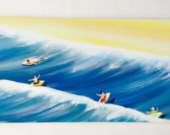 Surf art, surfer art, ocean art, beach art, beach paintings, surfboard, surfing, housewares, room decor, baby and kids rooms,