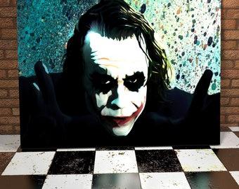 The Joker Spray Painting Onto Canvas -  The Dark Knight - Heath Ledger - Original Painting - Movie Canvas - Film Art