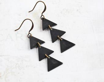 Three Triangle Earrings, Rustic Black Earrings on Antiqued Brass Hooks, Geometric Jewelry