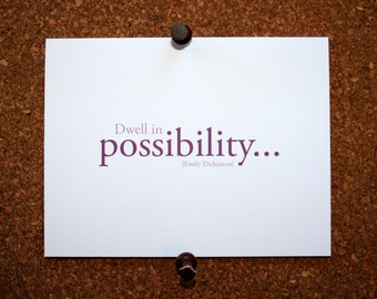"""Set of 10 / Inspirational Cards with Quote by Emily Dickinson """"Dwell in Possibility"""""""