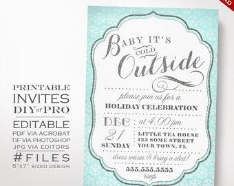 Christmas Invitation Template - Winter Holiday Party Invitation - Printable DIY Christmas Party Invitation Editable Snowflake Sledding