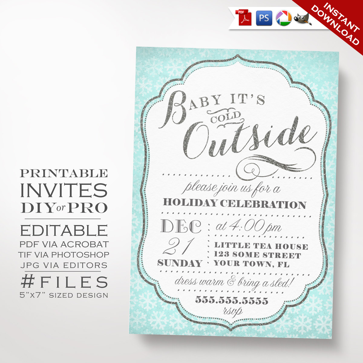 Christmas Invitation Template Winter Holiday Party