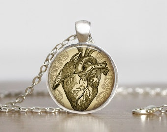 Vintage Anatomy Image Steampunk Necklace, Steampunk Jewelry